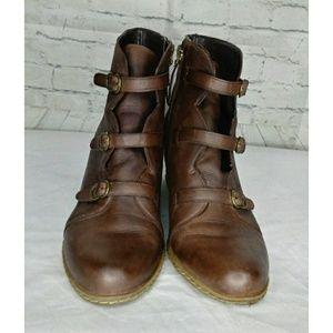 Franco Sarto Brn Leather Wedge Booties SZ 9.5